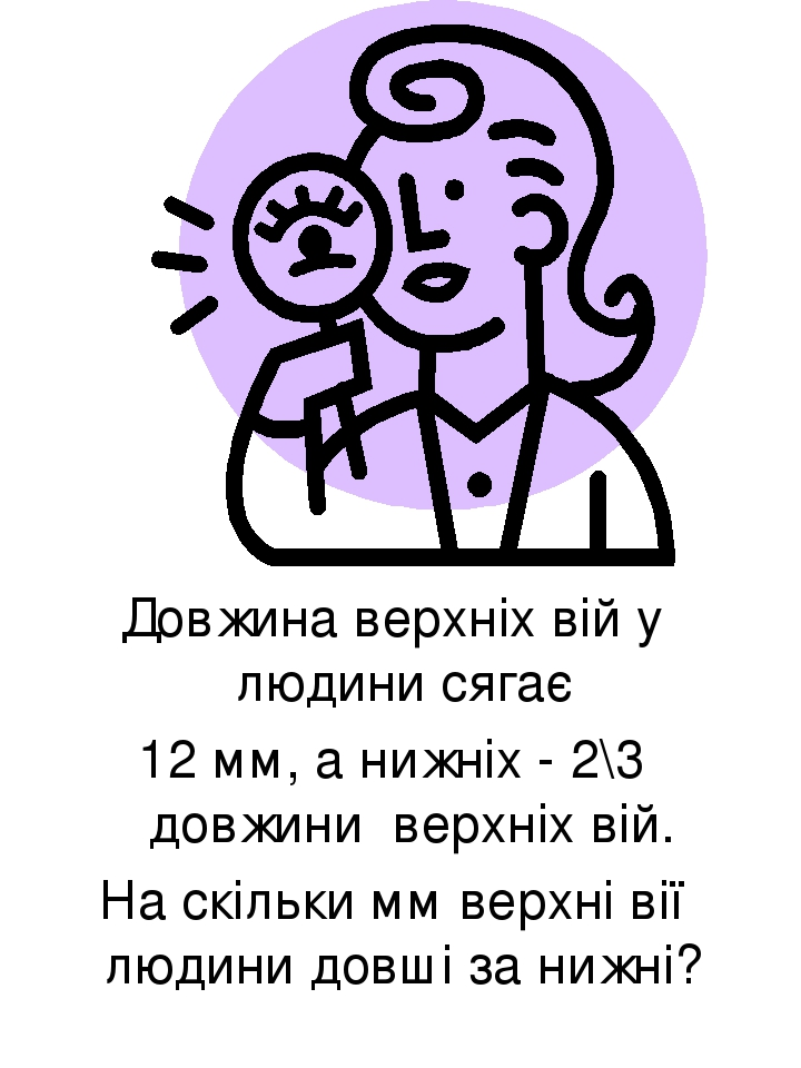 Довжина верхніх вій у людини сягає 12 мм, а нижніх - 2\3 довжини верхніх вій. На скільки мм верхні вії людини довші за нижні?
