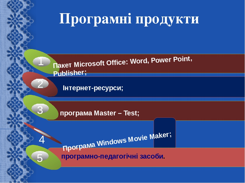 Програмні продукти Програма Windows Movie Maker; Пакет Microsoft Office: Word, Power Point, Publisher;