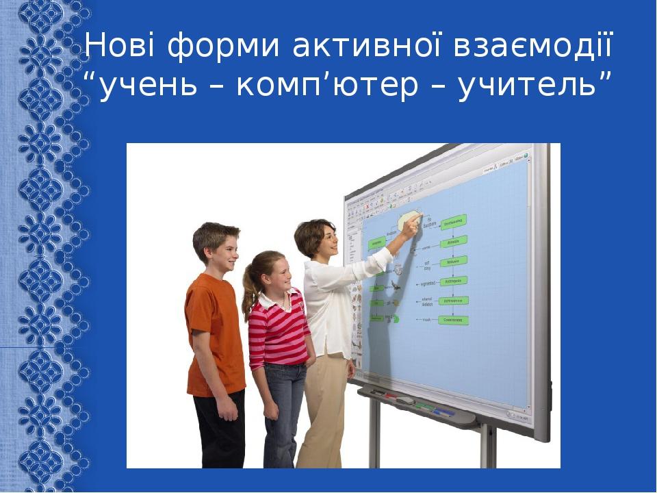 """Нові форми активної взаємодії """"учень – комп'ютер – учитель"""""""