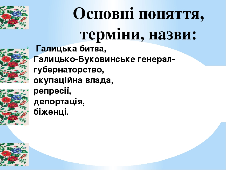Основні поняття, терміни, назви: Галицька битва, Галицько-Буковинське генерал-губернаторство, окупаційна влада, репресії, депортація, біженці.