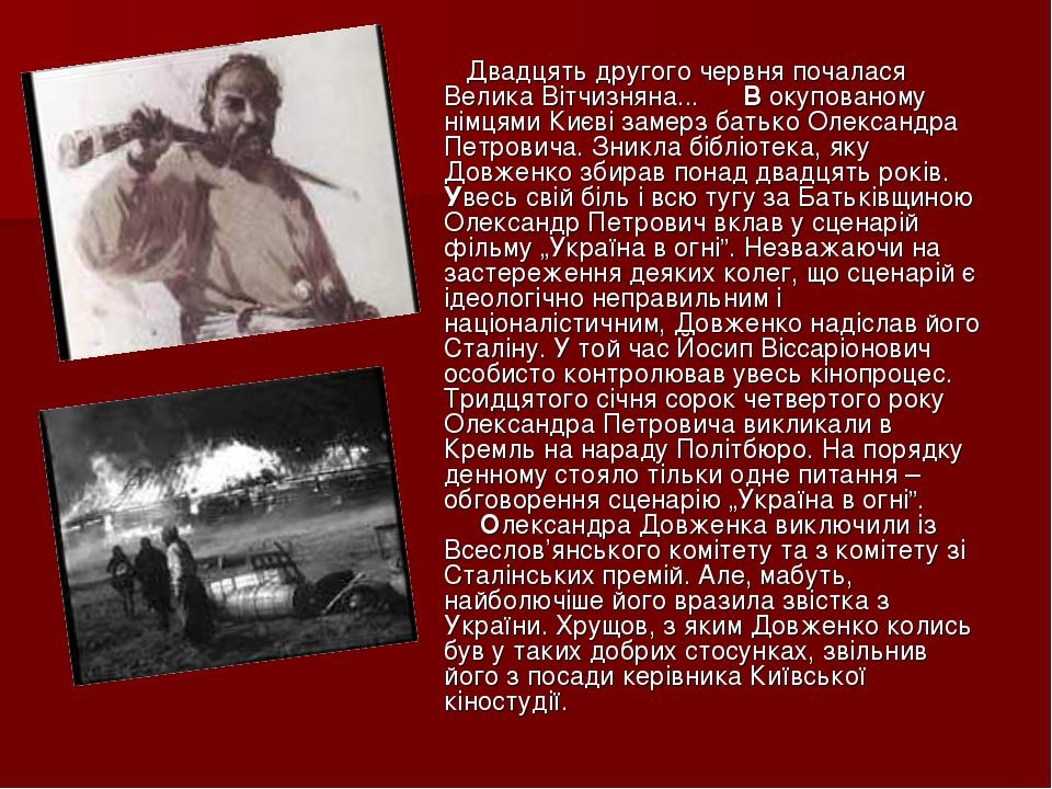 Двадцять другого червня почалася Велика Вітчизняна... В окупованому німцями Києві замерз батько Олександра Петровича. Зникла бібліотека, яку Д...