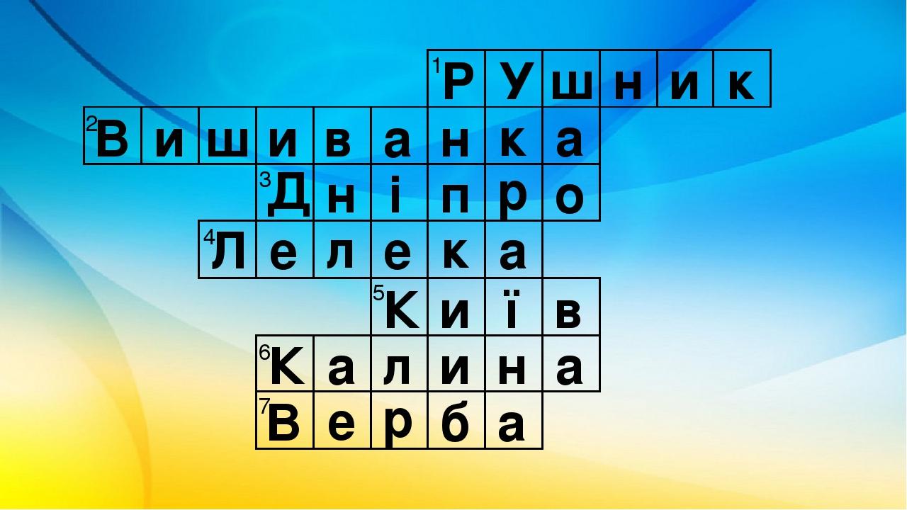 Р У ш н и к В и ш и в а н к а Д п н і о р Л е л е к а К и ї в К а л и н а В е р б а 1 2 3 4 5 6 7