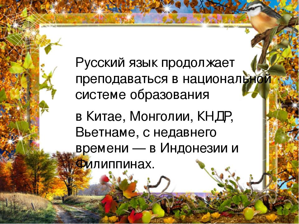 Русский язык продолжает преподаваться в национальной системе образования в Китае, Монголии, КНДР, Вьетнаме, с недавнего времени— в Индонезии и Фил...