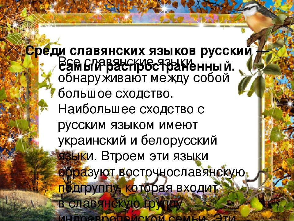 Среди славянских языков русский— самый распространенный. Все славянские языки обнаруживают между собой большое сходство. Наибольшее сходство с рус...