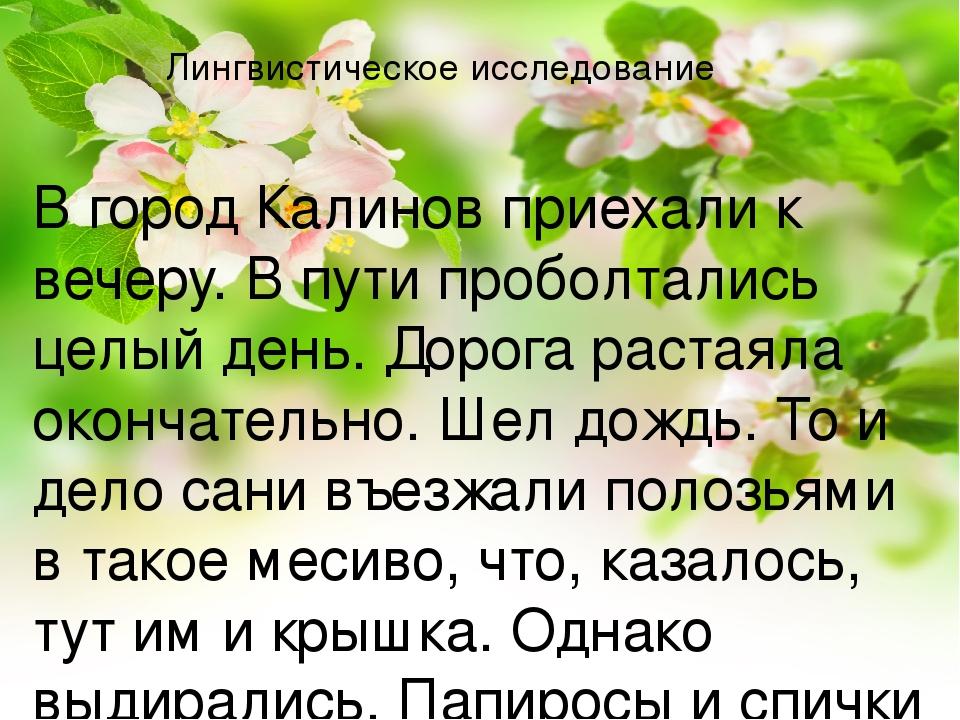 Лингвистическое исследование В город Калинов приехали к вечеру. В пути проболтались целый день. Дорога растаяла окончательно. Шел дождь. То и дело ...