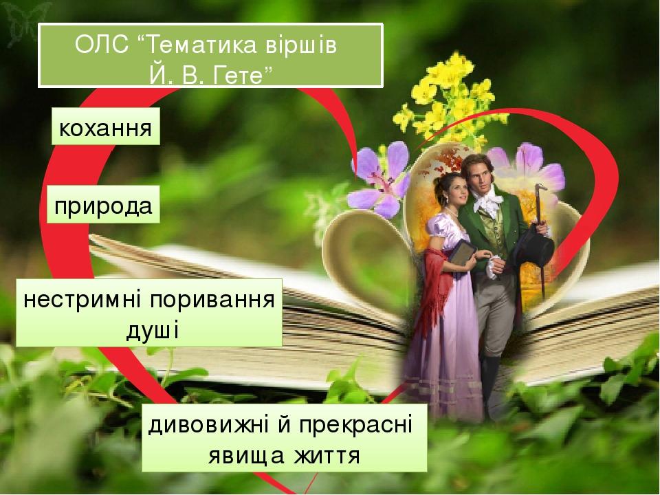 """ОЛС """"Тематика віршів Й. В. Гете"""" кохання природа нестримні поривання душі дивовижні й прекрасні явища життя"""