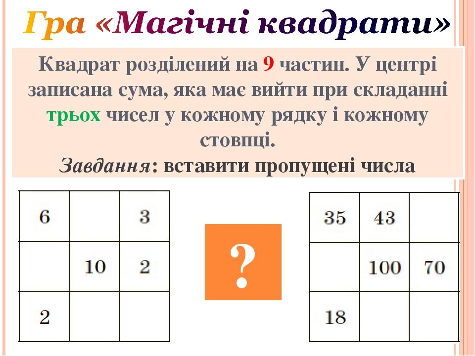 Квадрат розділений на 9 частин. У центрі записана сума, яка має вийти при складанні трьох чисел у кожному рядку і кожному стовпці. Завдання: встави...