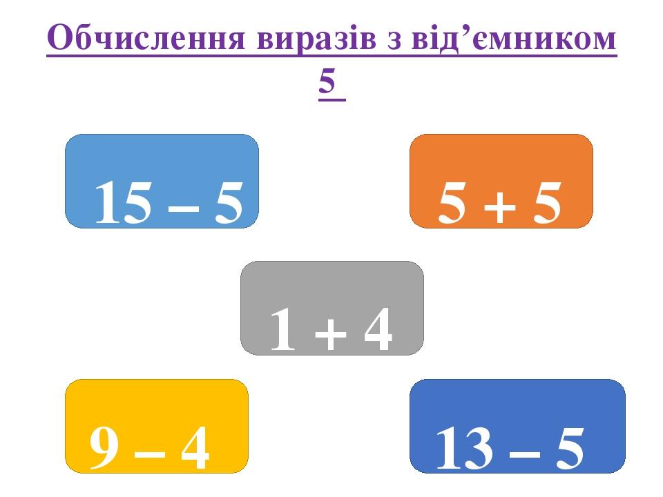 Обчислення виразів з від'ємником 5 15 – 5 13 – 5 9 – 4 1 + 4 5 + 5