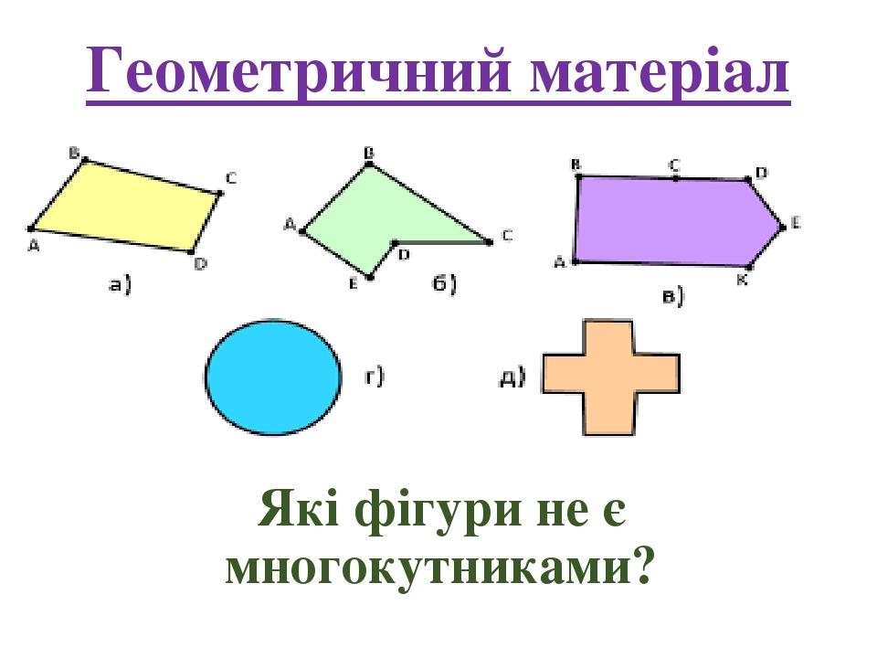 Геометричний матеріал Які фігури не є многокутниками?