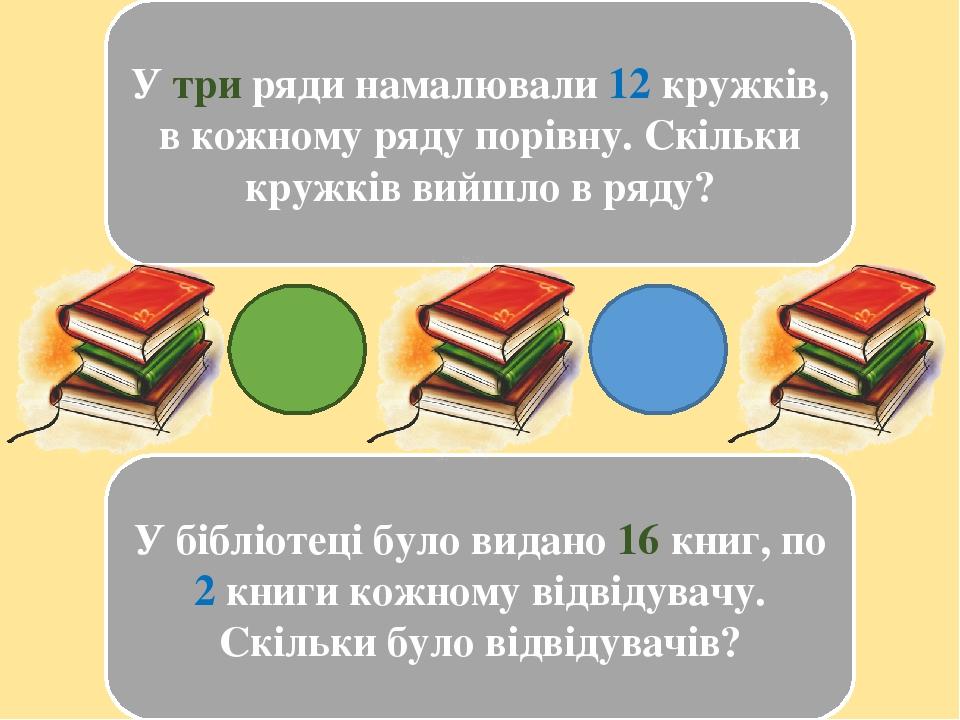 У три ряди намалювали 12 кружків, в кожному ряду порівну. Скільки кружків вийшло в ряду? У бібліотеці було видано 16 книг, по 2 книги кожному відві...