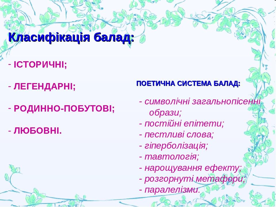 ПОЕТИЧНА СИСТЕМА БАЛАД: - символічні загальнопісенні образи; - постійні епітети; - пестливі слова; - гіперболізація; - тавтологія; - нарощування еф...