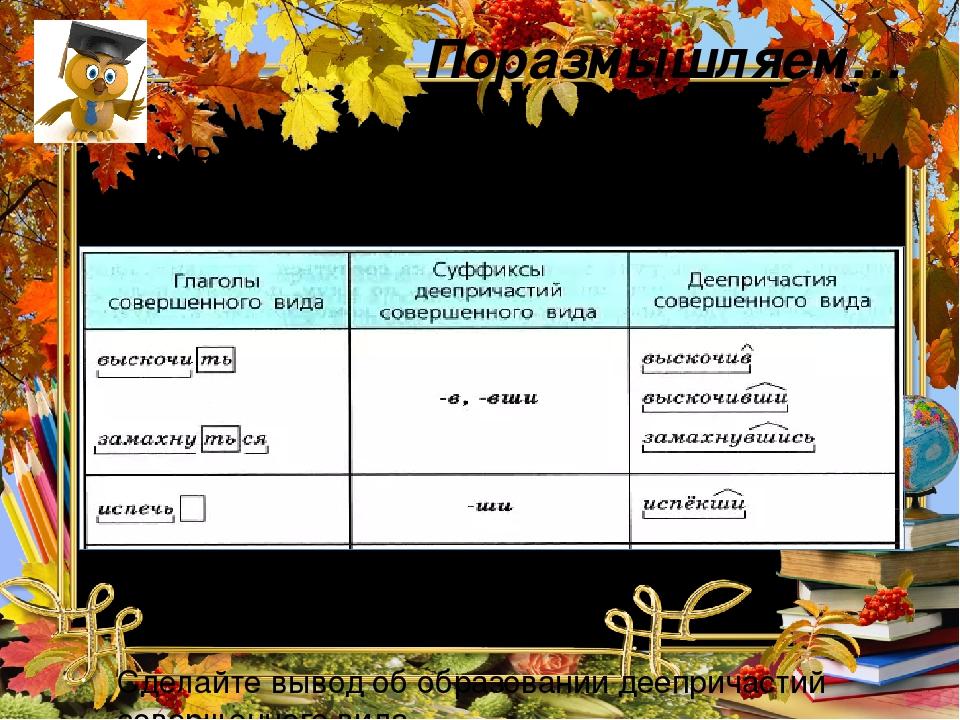 Поразмышляем… Рассмотрите таблицу. От основы какой формы глагола образуются деепричастия совершенного вида? С помощью каких суффиксов? Сделайте выв...