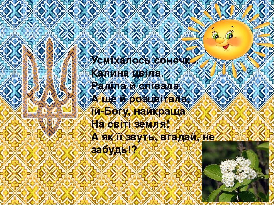 Усміхалось сонечко. Калина цвіла. Раділа й співала, А ще й розцвітала, їй-Богу, найкраща На світі земля! А як її звуть, вгадай, не забудь!?