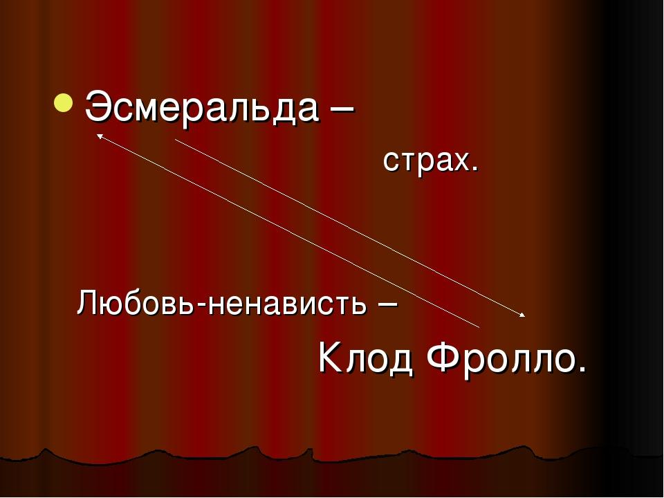 Эсмеральда – страх. Любовь-ненависть – Клод Фролло.