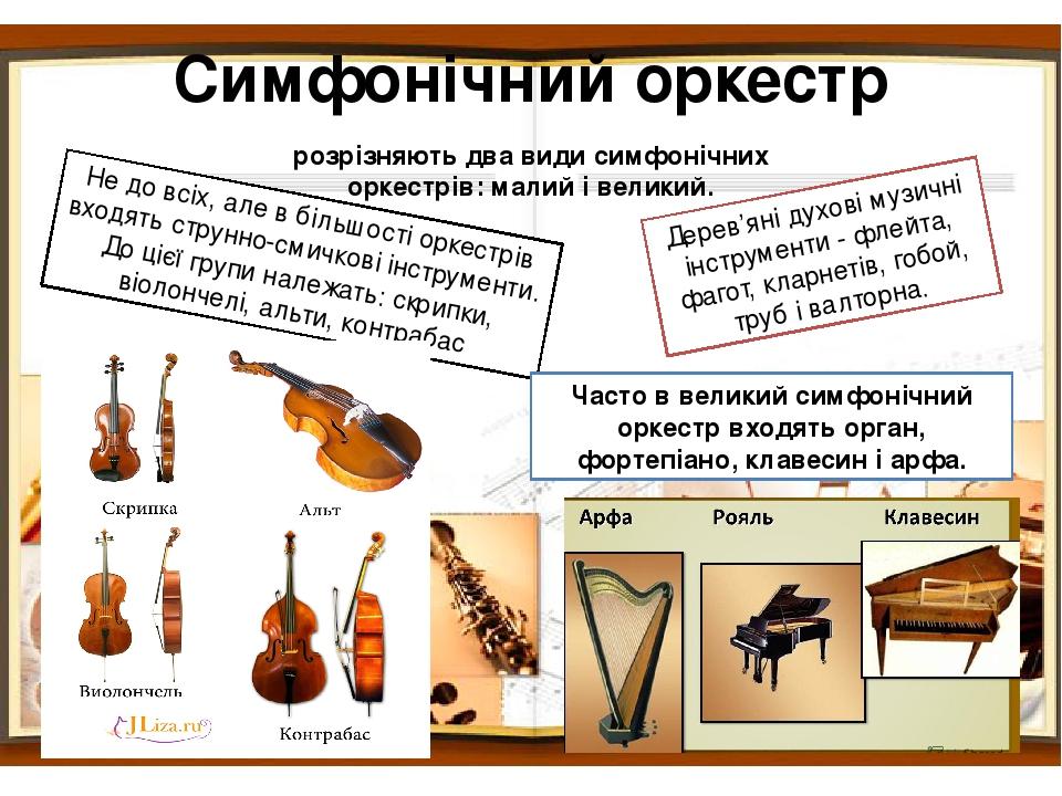 Симфонічний оркестр розрізняють два види симфонічних оркестрів: малий і великий. Не до всіх, але в більшості оркестрів входять струнно-смичкові інс...