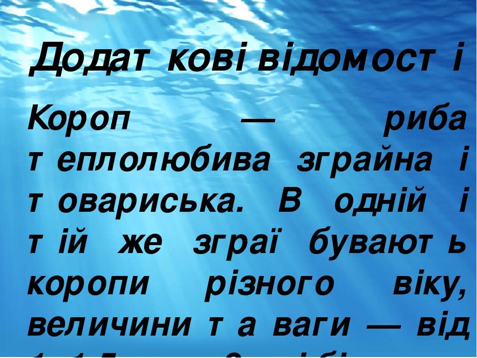 Додаткові відомості Короп — риба теплолюбива зграйна і товариська. В одній і тій же зграї бувають коропи різного віку, величини та ваги — від 1 -1,...