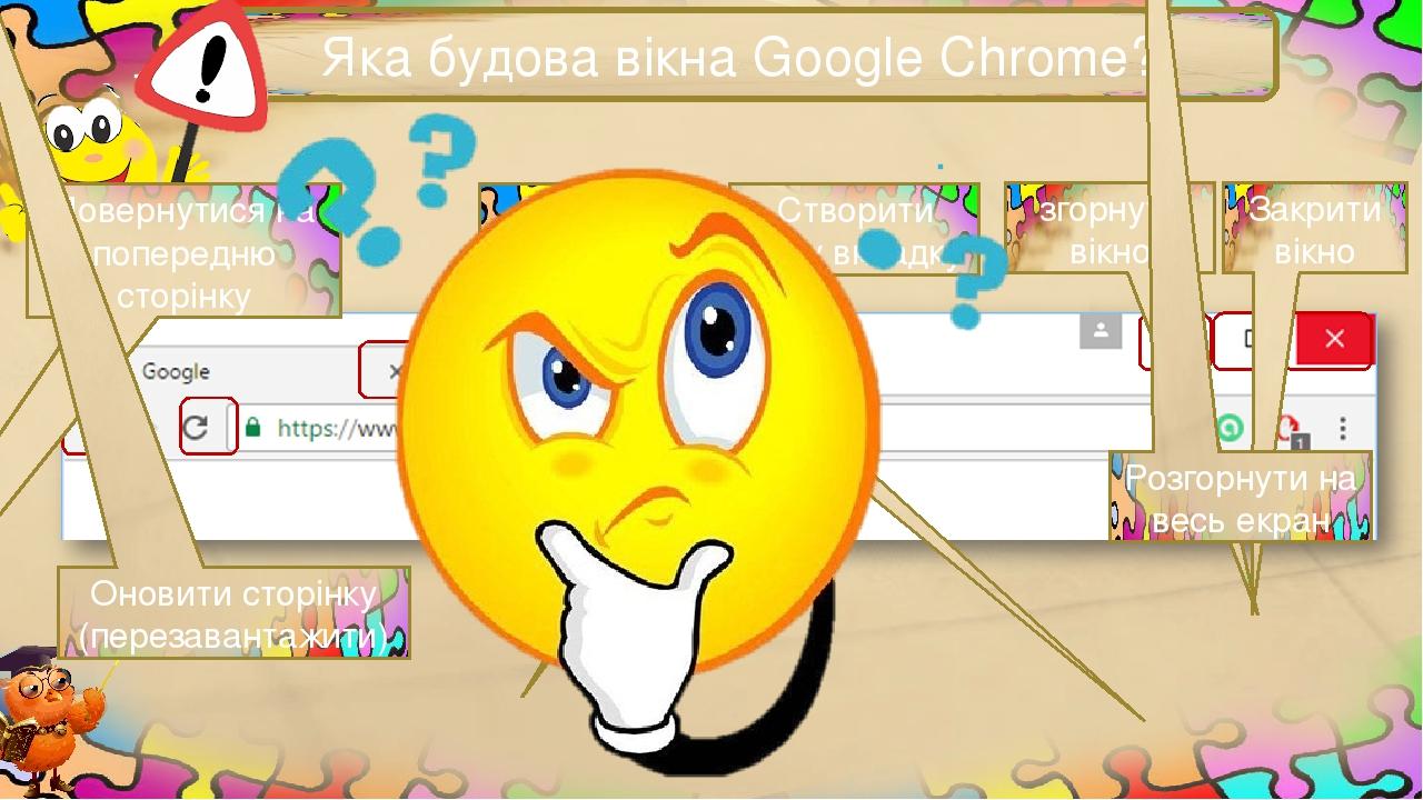 Яка будова вікна Google Chrome? Закрити вкладку Створити нову вкладку згорнути вікно Закрити вікно Розгорнути на весь екран Повернутися на попередн...