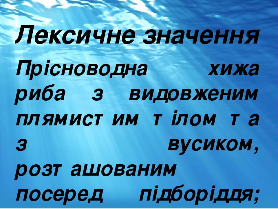 Лексичне значення Прісноводна хижа риба з видовженим плямистим тілом та з вусиком, розташованим посеред підборіддя; розмножується взимку.