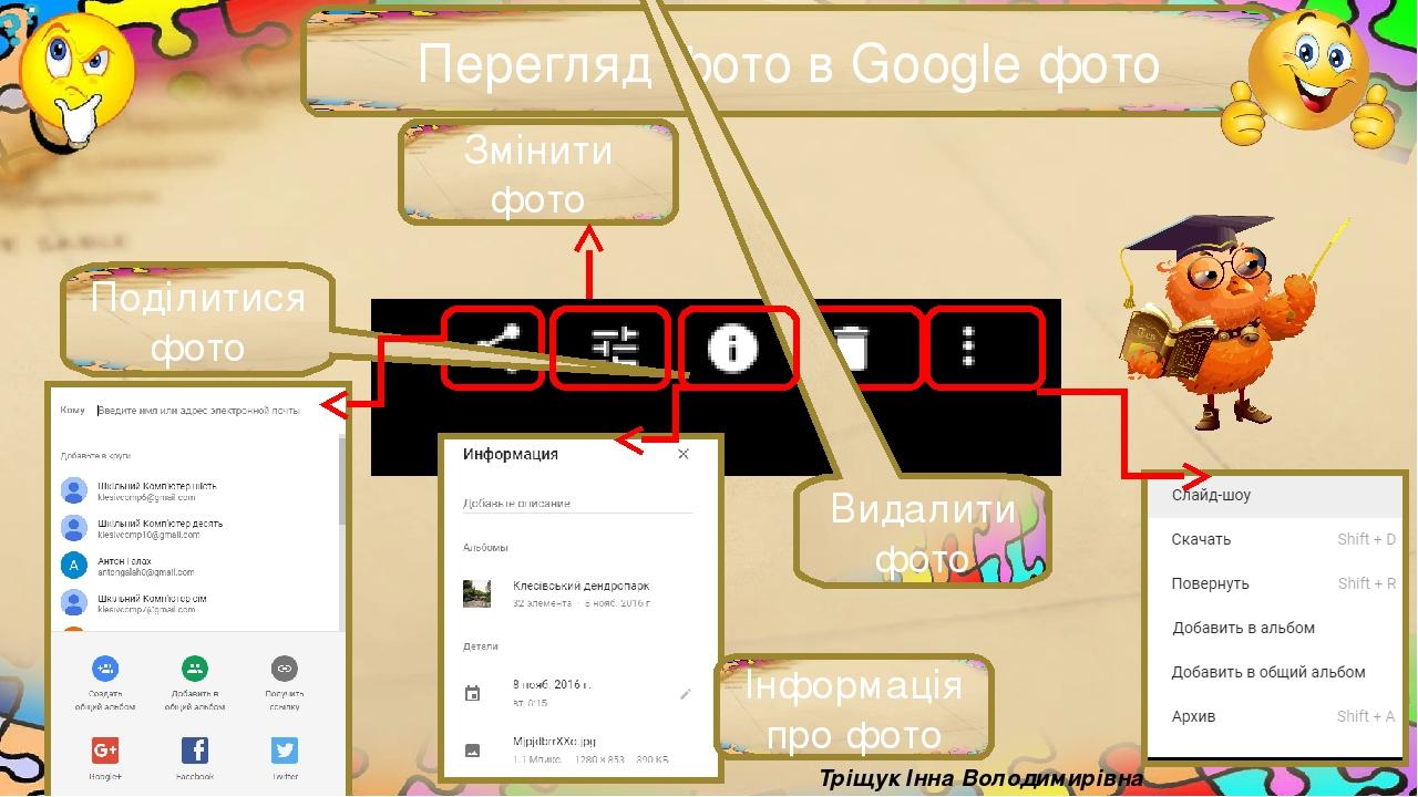 Перегляд фото в Google фото Тріщук Інна Володимирівна Видалити фото Поділитися фото Інформація про фото Змінити фото