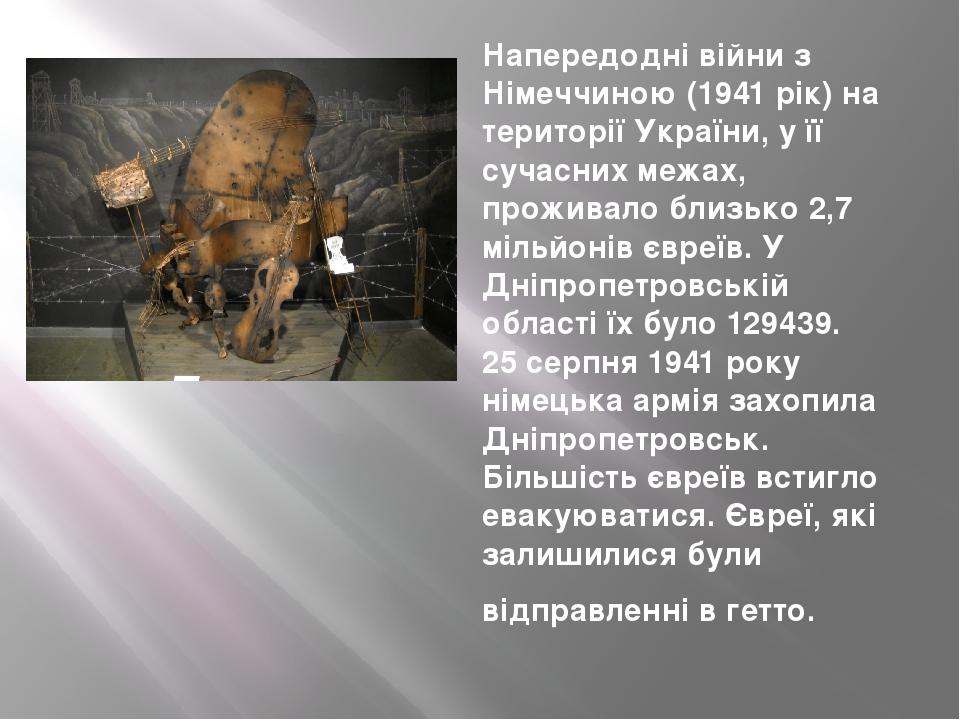 Напередодні війни з Німеччиною (1941 рік) на території України, у її сучасних межах, проживало близько 2,7 мільйонів євреїв. У Дніпропетровській об...
