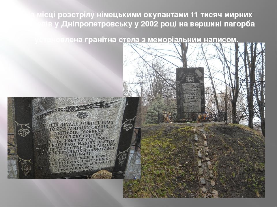 На місці розстрілу німецькими окупантами 11 тисяч мирних жителів у Дніпропетровську у 2002 році на вершині пагорба установлена гранітна стела з мем...
