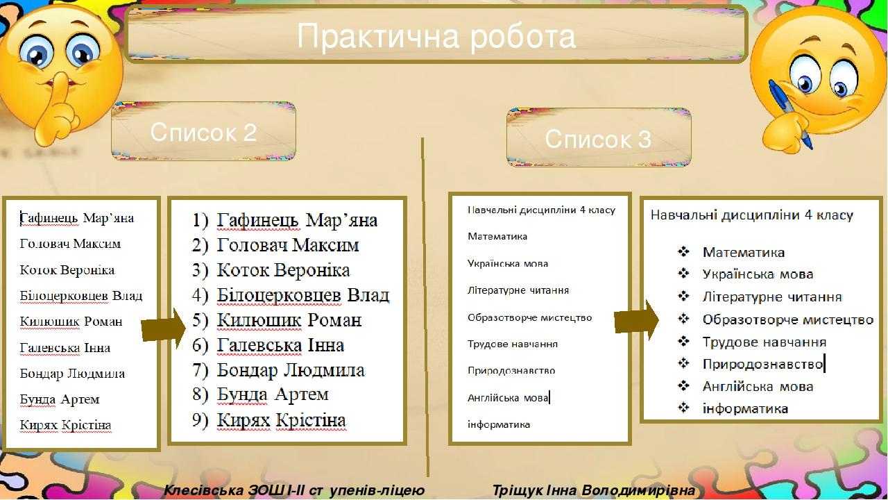 Практична робота Тріщук Інна Володимирівна Клесівська ЗОШ I-II ступенів-ліцею Список 2 Список 3