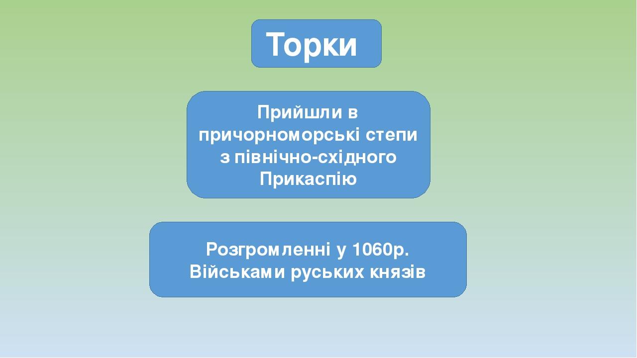 Торки Прийшли в причорноморські степи з північно-східного Прикаспію Розгромленні у 1060р. Військами руських князів