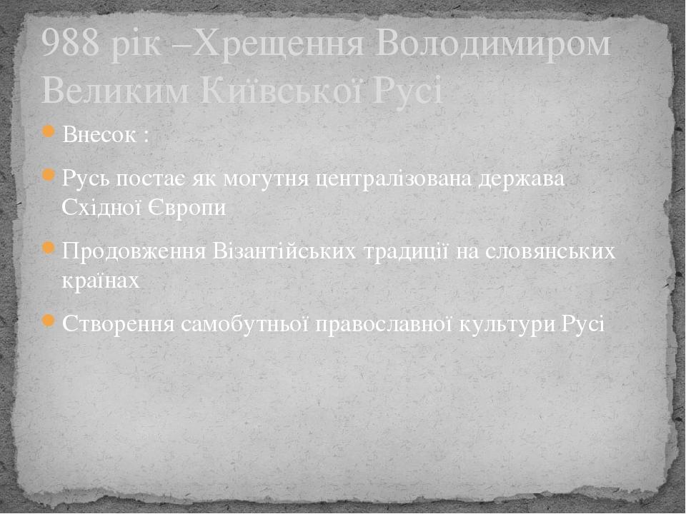 Внесок : Русь постає як могутня централізована держава Східної Європи Продовження Візантійських традиції на словянських країнах Створення самобутнь...