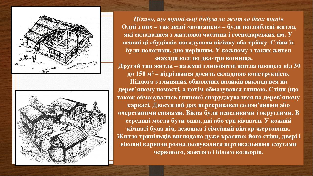 Цікаво, що трипільці будували житло двох типів Одні з них – так звані «ковганки» – були поглиблені житла, які складалися з житлової частини і госпо...