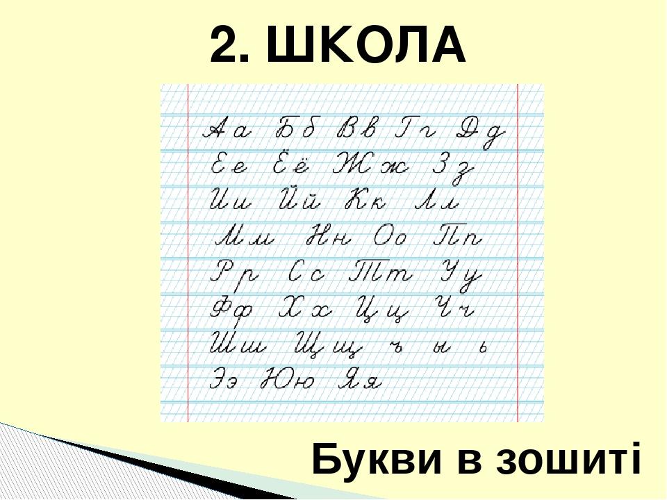 Букви в зошиті 2. ШКОЛА