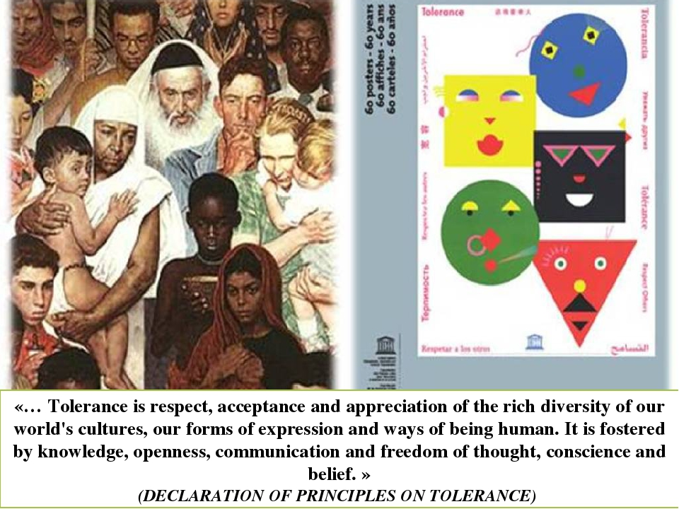 «… Tolerance is respect, acceptance and appreciation of the rich diversity of our world's cultures, our forms of expression and ways of being human...