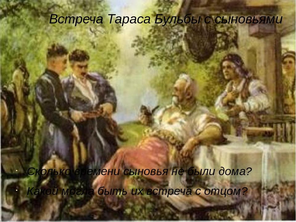 Встреча Тараса Бульбы с сыновьями Сколько времени сыновья не были дома? Какой могла быть их встреча с отцом?