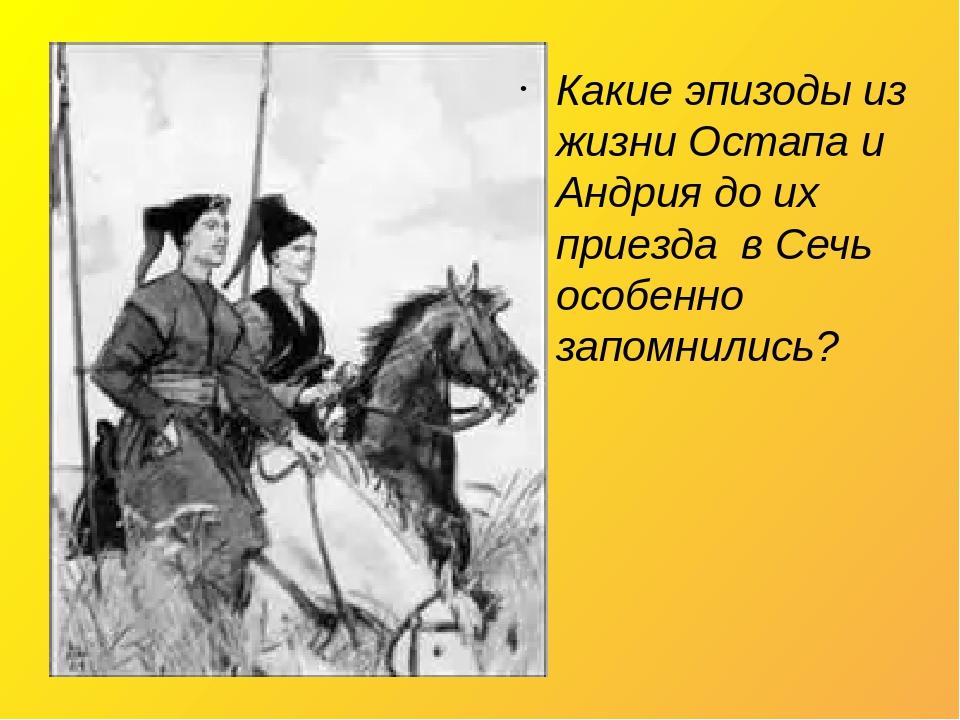 Какие эпизоды из жизни Остапа и Андрия до их приезда в Сечь особенно запомнились?