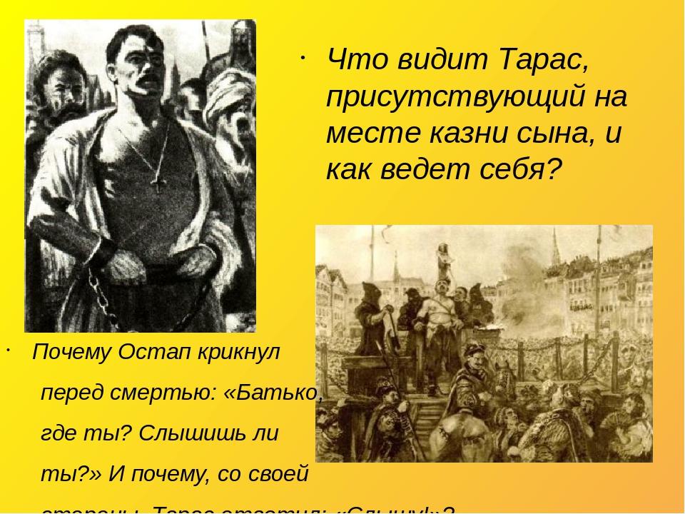 Почему Остап крикнул перед смертью: «Батько, где ты? Слышишь ли ты?» И почему, со своей стороны, Тарас ответил: «Слышу!»? Что видит Тарас, присутст...