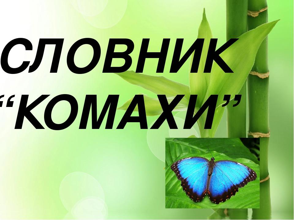 "СЛОВНИК ""КОМАХИ"""