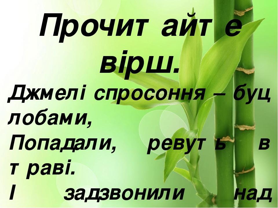 Прочитайте вірш. Джмелі спросоння – буц лобами, Попадали, ревуть в траві. I задзвонили над джмелями Дзвінки-дзвіночки лісові. М. Вінграновський