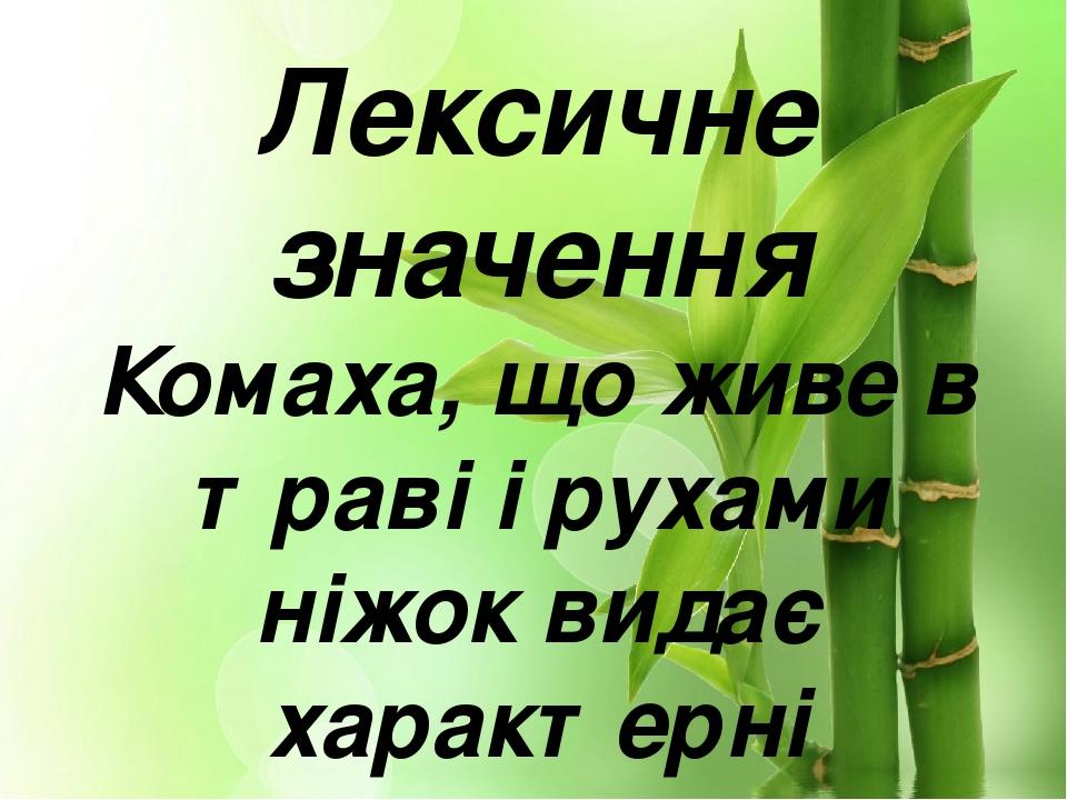 Лексичне значення Комаха, що живе в траві і рухами ніжок видає характерні сюркотливі звуки.