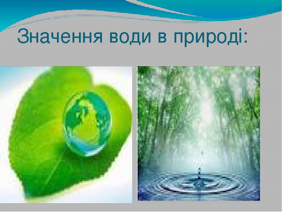 Значення води в природі: