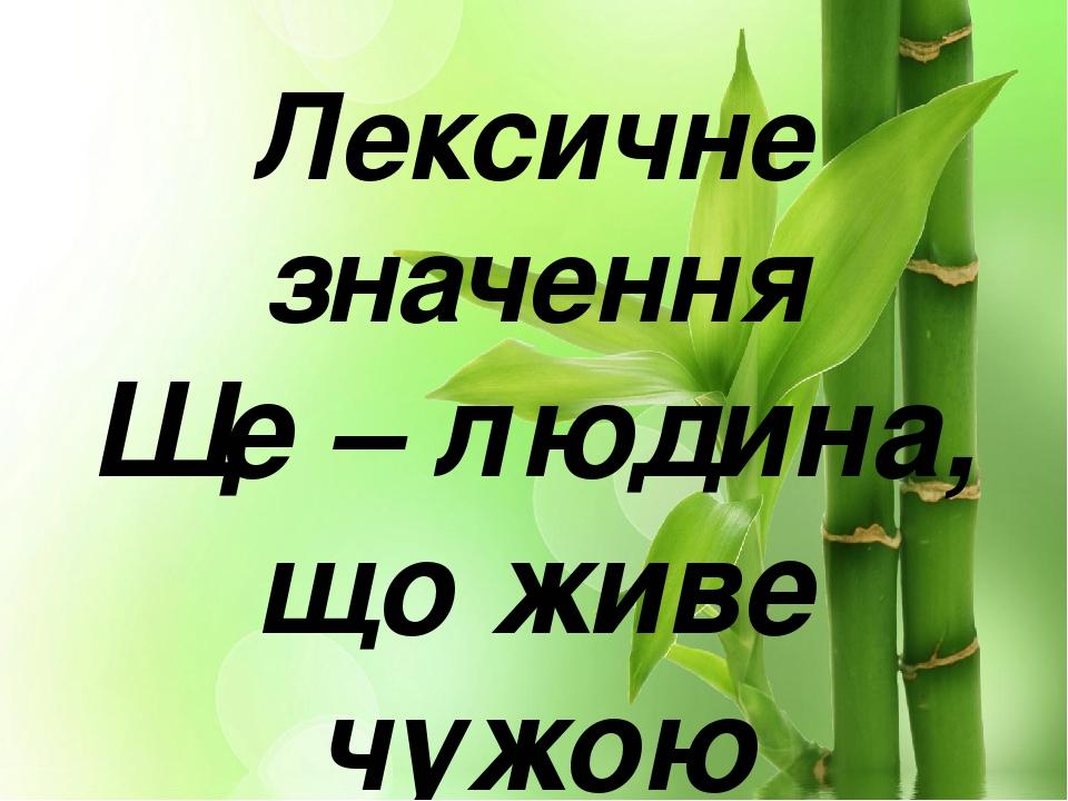 Лексичне значення Ще – людина, що живе чужою працею; нероба.