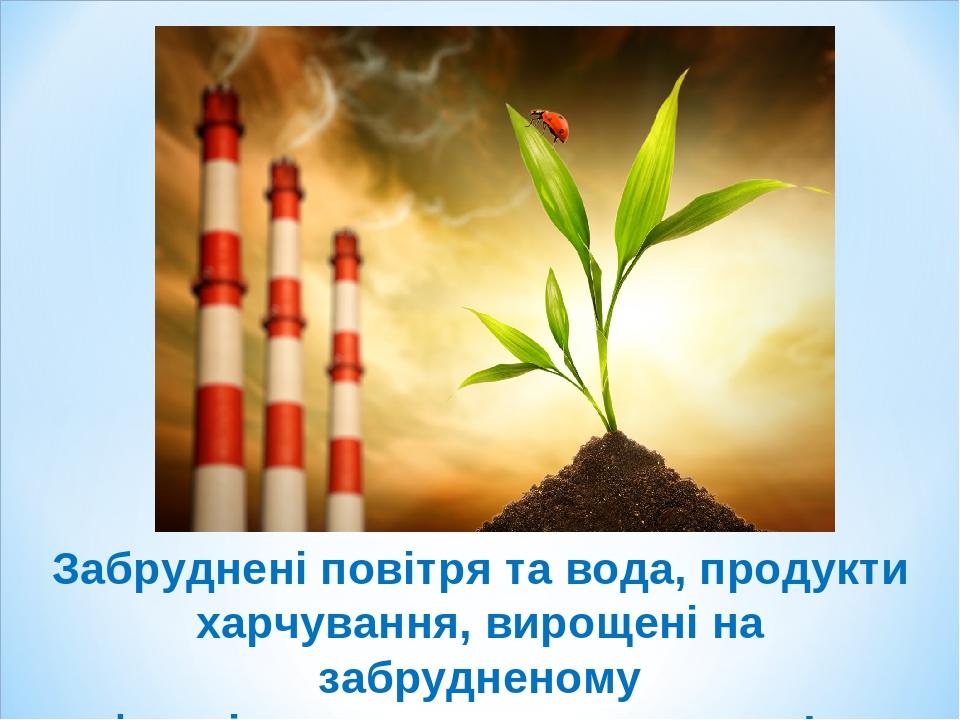 Забруднені повітря та вода, продукти харчування, вирощені на забрудненому ґрунті завдають шкоди здоров'ю