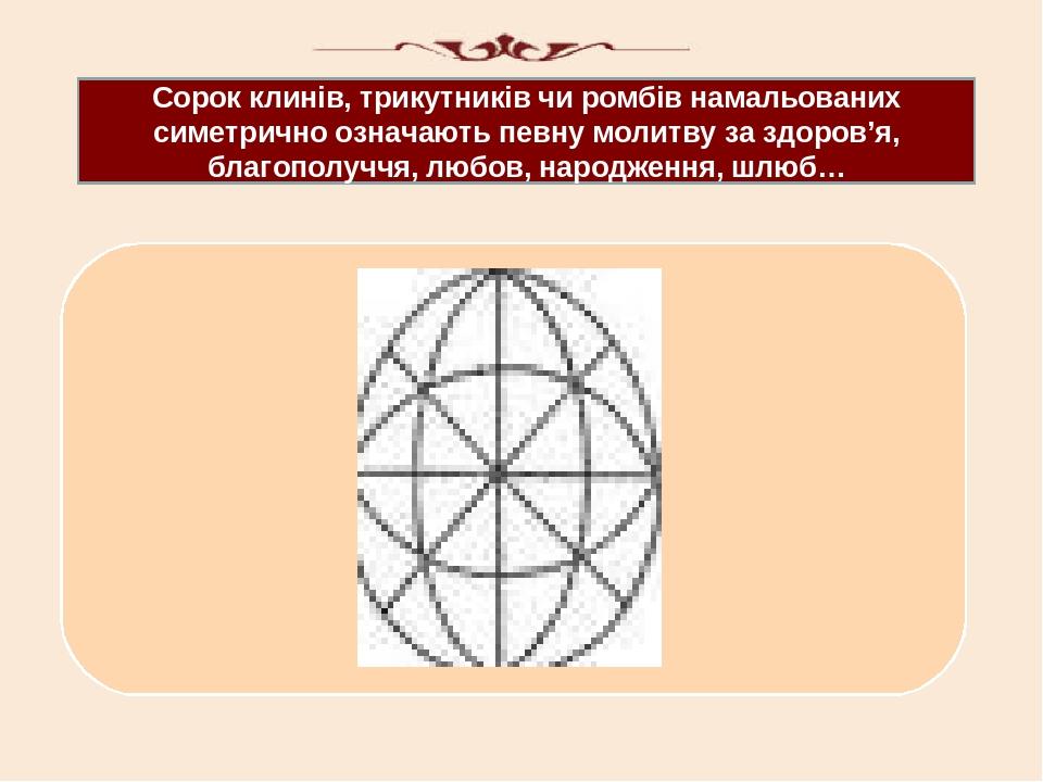 Сорок клинів, трикутників чи ромбів намальованих симетрично означають певну молитву за здоров'я, благополуччя, любов, народження, шлюб…