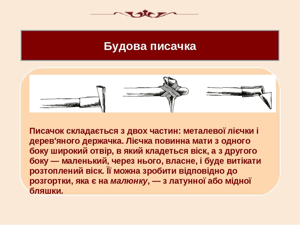 Будова писачка Писачок складається з двох частин: металевої лієчки і дерев'яного держачка. Лієчка повинна мати з одного боку широкий отвір, в який ...