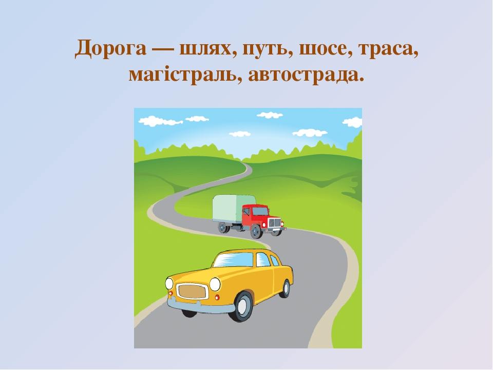 Дорога — шлях, путь, шосе, траса, магістраль, автострада.
