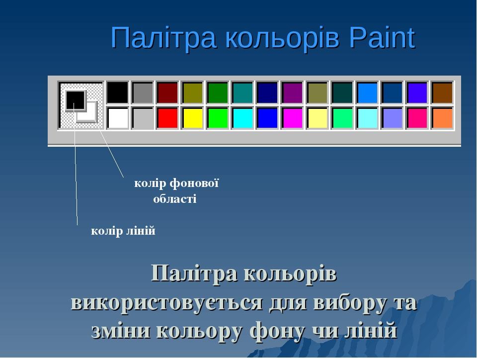 Палітра кольорів Paint Палітра кольорів використовується для вибору та зміни кольору фону чи ліній
