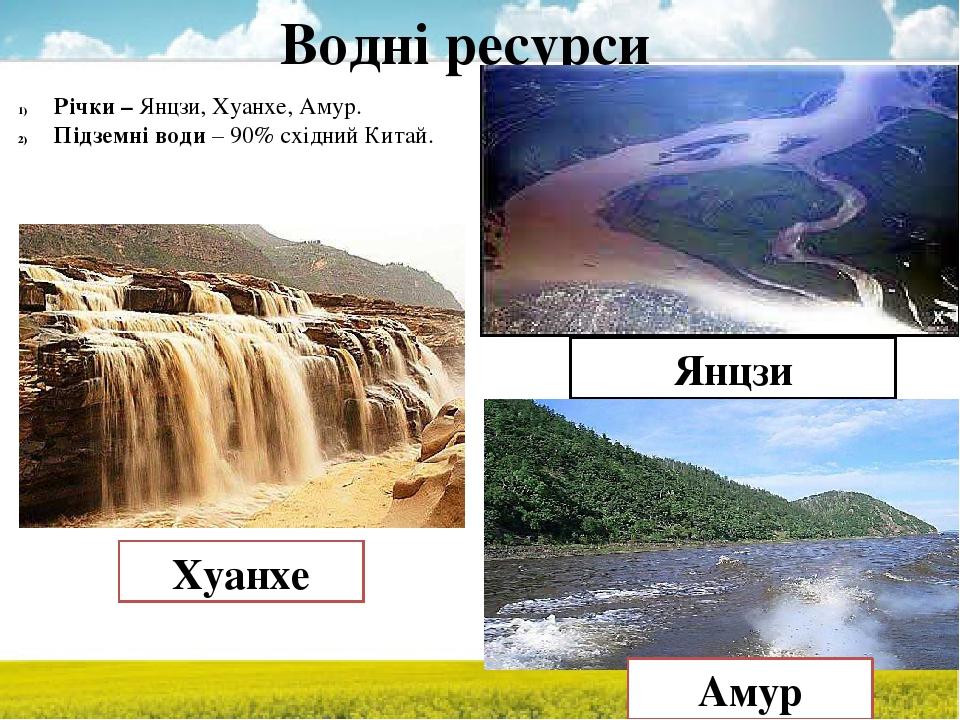 Водні ресурси Річки – Янцзи, Хуанхе, Амур. Підземні води – 90% східний Китай. Янцзи Хуанхе Амур