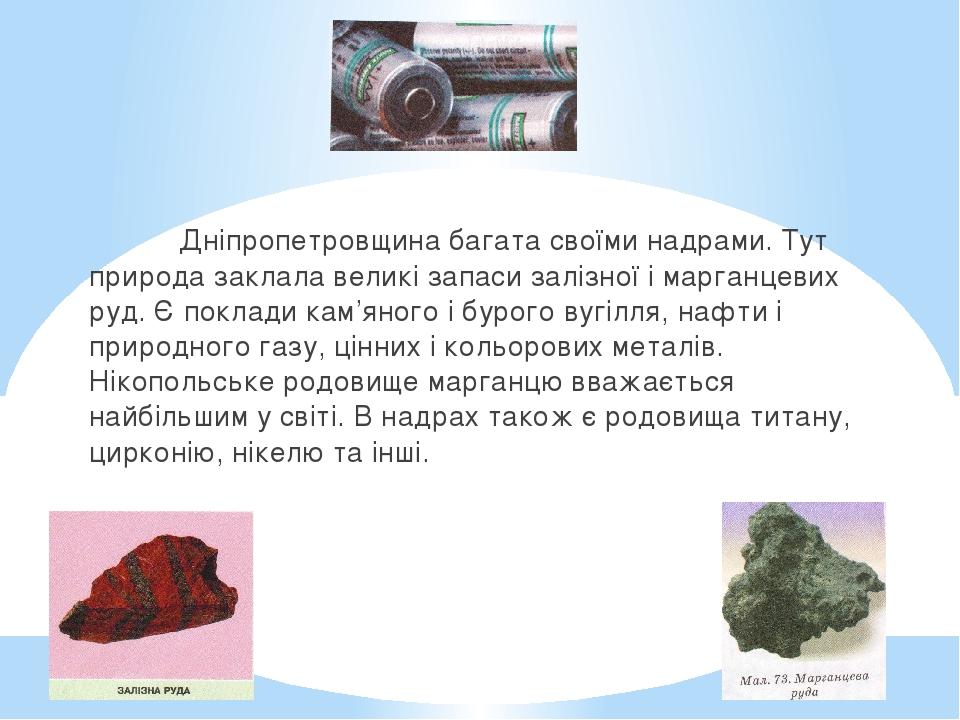 Дніпропетровщина багата своїми надрами. Тут природа заклала великі запаси залізної і марганцевих руд. Є поклади кам'яного і бурого вугілля, нафти і...