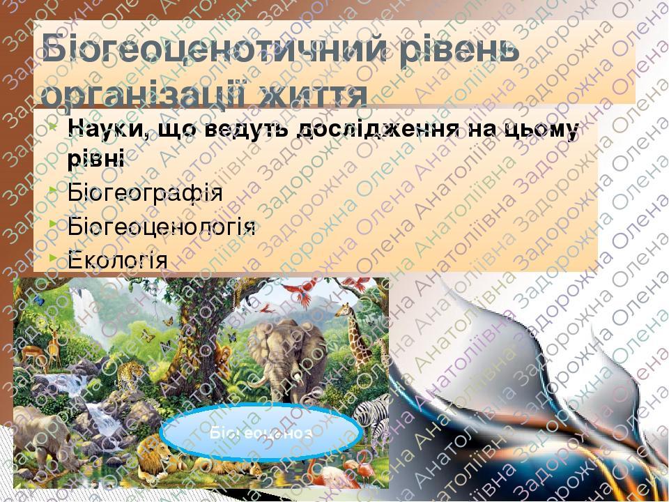 Науки, що ведуть дослідження на цьому рівні Біогеографія Біогеоценологія Екологія Біогеоценотичний рівень організації життя Біогеоценоз