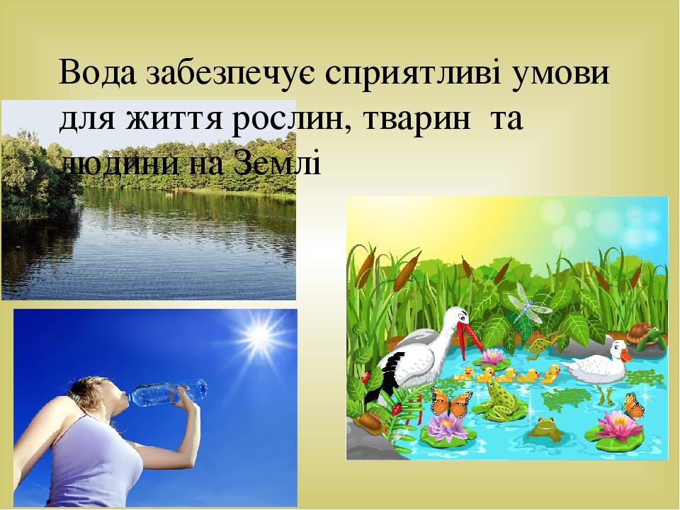 Вода забезпечує сприятливі умови для життя рослин, тварин та людини на Землі