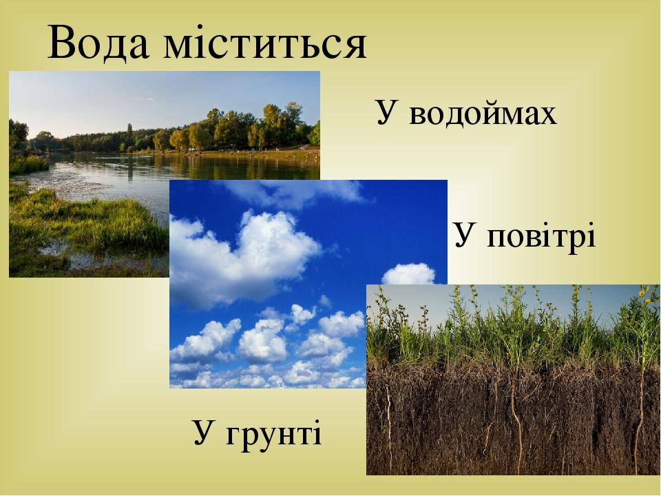 Вода міститься У водоймах У повітрі У грунті