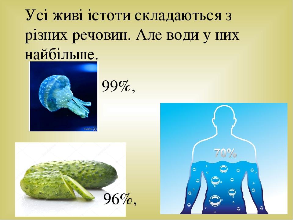 Усі живі істоти складаються з різних речовин. Але води у них найбільше. 99%, 96%,